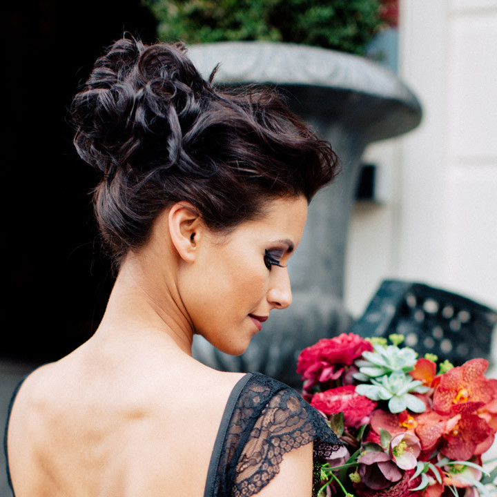 Sultry marsala and black wedding